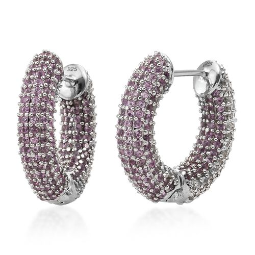 Designer Inspired -Pink Sapphire (Rnd), Natural Cambodian Zircon Hoop Earrings (with Clasp) in Platinum Overlay Sterling Silver 9.000 Ct. Silver wt.10.84 Gms. Number of Gemstone 600.