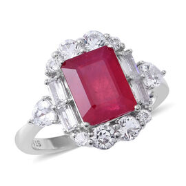 7.31 Ct African Ruby and White Topaz Halo Ring in Rhodium Plated Sterling Silver