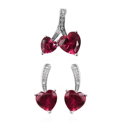 2 Piece Set - Simulated Ruby, Simulated Diamond Heart Pendant and Earrings (with Push Back) in Rhodi