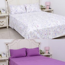 8 Piece Set  - King Size 2 Fitted Sheet (Size 200x150+30 Cm), 2 Flat Sheet (Size 275x265 Cm) and 4 P