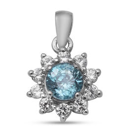Ratanakiri Blue Zircon and Natural Cambodian White Zircon Floral Halo Pendant in Rhodium Overlay Ste