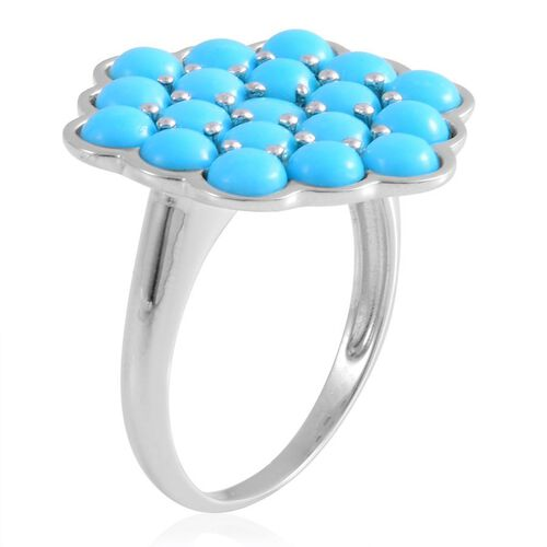 Arizona Sleeping Beauty Turquoise (Rnd) Cluster Ring in Rhodium Plated Sterling Silver 4.250 Ct.