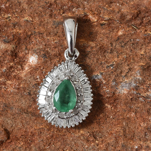 AA Kagem Zambian Emerald (Pear), Diamond (Rnd 0.35Ct) Pendant in Platinum Overlay Sterling Silver 1.000 Ct.