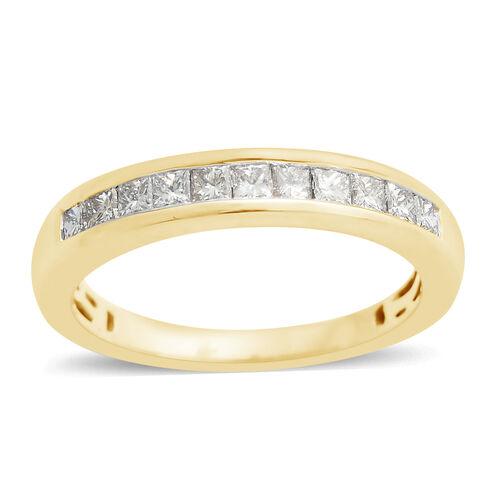 ILIANA 18K Yellow Gold IGI Certified Diamond (Rnd) (SI/G-H) Half Eternity Ring 0.500 Ct.