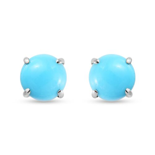 9K Yellow Gold Arizona Sleeping Beauty Turquoise Solitaire Stud Earrings (with Push Back) 1.80 Ct.