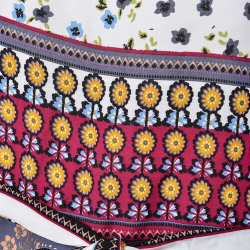 White, Grey and Multi Colour Floral and Paisley Pattern Apparel with Adjustable Waistband (Size 70X60 Cm)
