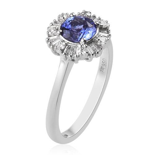 RHAPSODY 950 Platinum AAAA Tanzanite and Diamond Halo Ring 1.15 Ct.