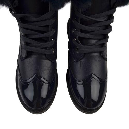 Warm Faux Fur Ankle Boots (Size 4) - Navy