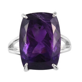 Amethyst Solitaire Ring in Platinum Overlay Sterling Silver 13.81 Ct.