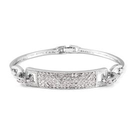 Designer Inspired-White Austrian Crystal (Rnd) Bracelet (Size 7.5) in Silver Plated