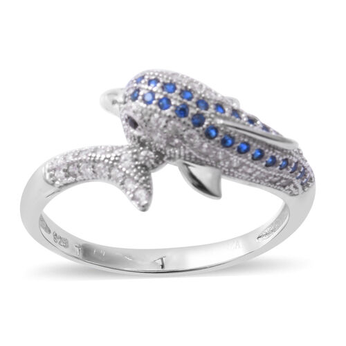 ELANZA Simulated Blue Sapphire (Rnd), Simulated Diamond Ring in Rhodium Overlay Sterling Silver