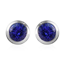 RHAPSODY 950 Platinum AAAA Tanzanite (Rnd) Stud Earrings (with Screw Back) 2.60 Ct, Platinum wt. 4.6