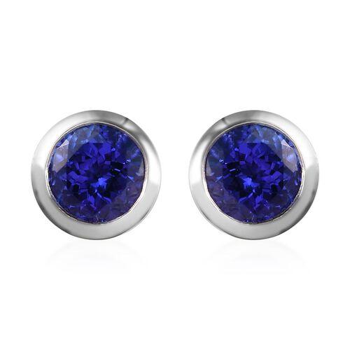 RHAPSODY 950 Platinum AAAA Tanzanite (Rnd) Stud Earrings (with Screw Back) 2.60 Ct, Platinum wt. 4.6