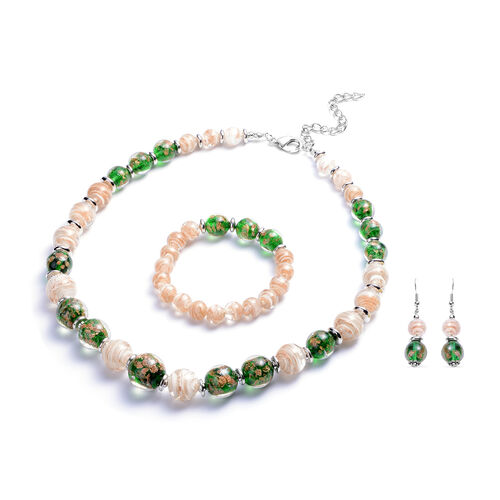3 Piece Set - Green and White Murano Beads Hook Earrings, Necklace(Size 23 with Extender) and Bracel