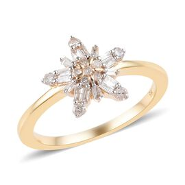 9K Yellow Gold SGL Certified Diamond (Rnd and Bgt) (I2-I3/G-H) Snowflake Design Ring 0.25 Ct.