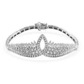 J Francis Platinum Overlay Sterling Silver Bracelet (Size 7.5) Made with SWAROVSKI ZIRCONIA 10.76 Ct