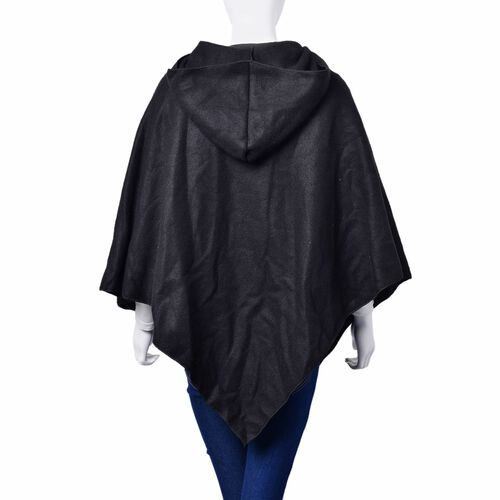 Winter Special-Italian Designer Inspired - Black Colour Poncho with Cap (Free Size)