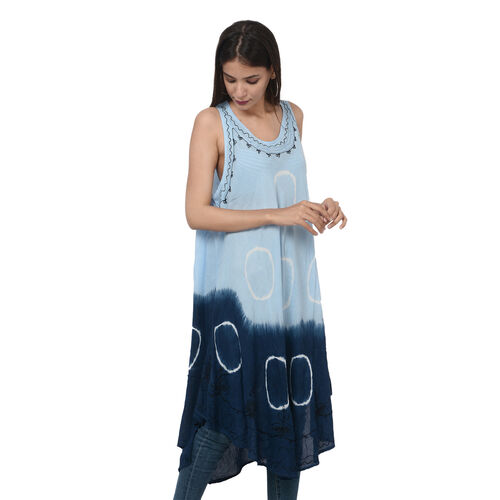 Summer Special- Embroided Tie-Dye Round Neck Umbrella Dress (One Size; L-121cm x W-111cm) - Light and Navy Blue