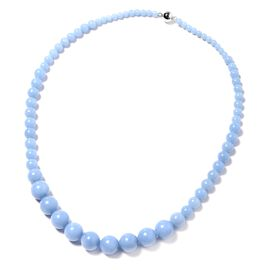 256.50 Ct Mexican Angelite Beaded Necklace in Rhodium Plated Sterling Silver 20 Inch