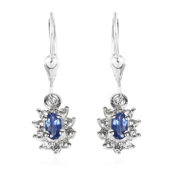 Burmese Blue Sapphire and Natural Cambodian Zircon Earrings in Platinum Overlay Sterling Silver 1.00