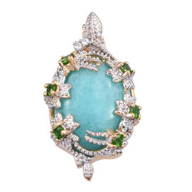 8.75 Ct Peruvain Amazonite and Russian Diopside Halo Pendant in Gold Plated Sterling Silver