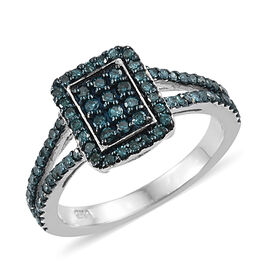 Blue Diamond (Rnd) Cluster Ring in Blue and Platinum Overlay Sterling Silver 0.500 Ct.