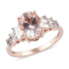 1.85 Ct Marropino Morganite and Natural Diamond Ballerina Ring in 9K Rose Gold