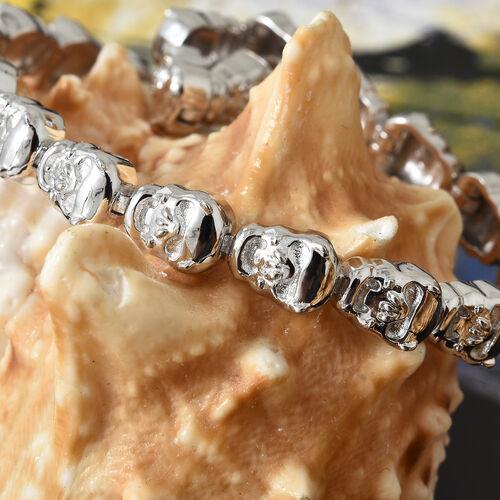 Skull Bracelet (Size 7.5) in Platinum Plated