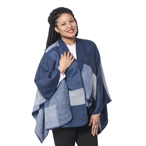 Close Out Deal Checker Pattern Kimono in Navy and Blue (135x70cm)