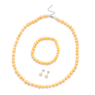 3 Piece Set -  Golden Freshwater Pearl Stretchable Bracelet (Size 6.5-7.5), Stud Earrings (with Push