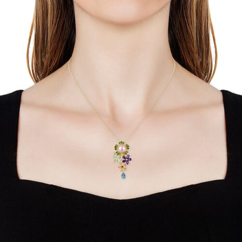 South Sea Golden Pearl (Rnd 11-11.5),  Blue Topaz, Amethyst and Multi Gemstone Floral Pendant with Chain in Yellow Gold Overlay Sterling Silver
