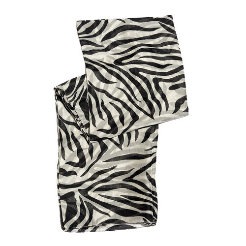 100% Mulberry Silk Black and White Handscreen Zebra Printed Scarf (Size 180x100 Cm)