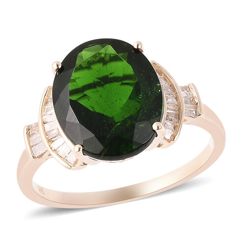 4.87 Ct Russian Diopside and Natural Diamond Solitaire Ring in 9K Gold