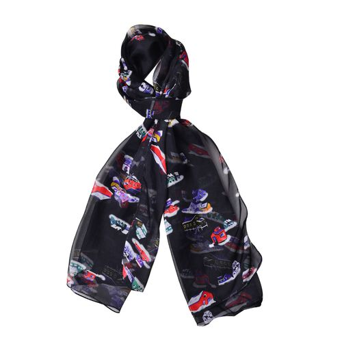One Time Only - Close Out Deal 100% Mulberry Silk Red, Black and Multi Colour House Printed Scarf (S