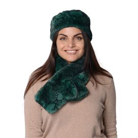 2 Piece Set - Snake Skin Pattern Faux Fur Headband (Size 13x51 Cm) and Collar Scarf (Size 13x86 Cm)