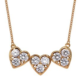 J Francis - 14K Gold Overlay Sterling Silver (Rnd) Tri Heart Necklace (Size 18) Made with SWAROVSKI