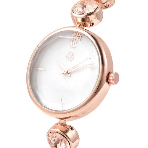 2 Piece Set - GENOA Japanese Movement Champagne Swarovski Crystal Studded Water Resistant Bracelet Watch and Adjustable Bolo Bracelet (Size 6-9.5) in Rose Gold Tone