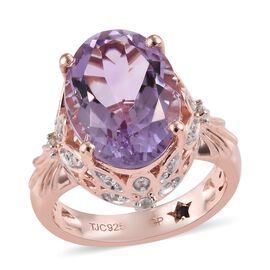 GP Rose De France Amethyst (Ovl 14x10 mm), Natural Cambodian Zircon and Blue Sapphire Ring in Rose G