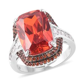 Simulated Ruby (Cush), Simulated Garnet and Simulated Diamond Ring (Size N) in Silver and Black Plating