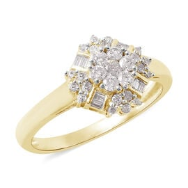 9K Yellow Gold SGL CERTIFIED Diamond (Rnd and Bgt) (I3 / G-H) Ring 0.50 Ct.