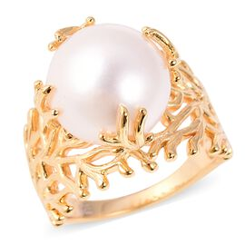 Edison Pearl Solitaire Ring in Gold Plated Sterling Silver 6.46 Grams