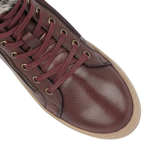 Lotus Siobhan Leather Stressless Sneakers with Faux Fur Lining (Size 7) - Burgundy