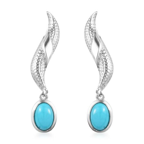 AA Arizona Sleeping Beauty Turquoise Dangle Earrings (with Push Back) in Platinum Overlay Sterling S