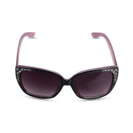 Brand NEW -Designed in Italy Vintage Style Diamante Sunglasses Dark Blue with Pink Interior