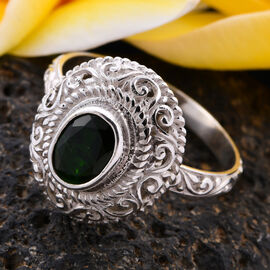 Royal Bali Collection - Russian Diopside Ring in Sterling Silver 1.25 Ct.