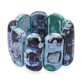 Spring Season- Rare Size Green Multi Agate  (Cush 46x22 mm) Stretchable Bracelet (Size 7) 1068.500 C