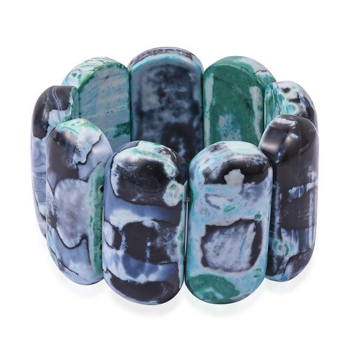 Spring Season- Rare Size Green Multi Agate  (Cush 46x22 mm) Stretchable Bracelet (Size 7) 1068.500 C