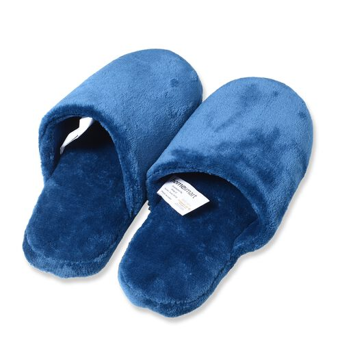 Dark Blue Colour Flannel Wrap and Pair of Slipper