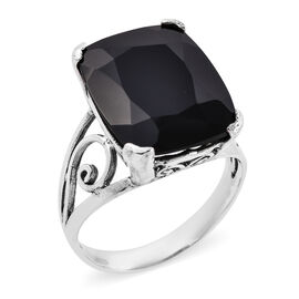 Royal Bali 18.44 Ct Black Spinel Solitaire Ring in Sterling Silver