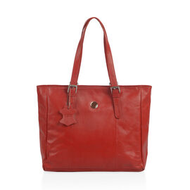 Close Out Deal 100% Genuine Leather Sassy Red Colour Large Tote Handbag with Shoulder Strap (40x35x1